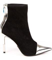 balmain blair black suede silver mirrored sock booties black/silver sz: 5.5