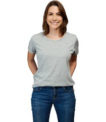 camiseta gris luck & load cuello redondo mujer