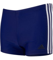 sunga boxer adidas fit 3 stripes swim - adulto - azul/branco