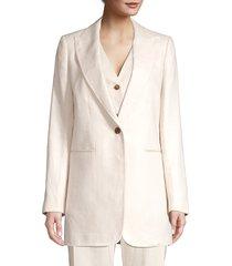 lafayette 148 new york women's beau oversized linen blazer jacket - raffia - size 12