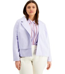 alfani plus size front-detail jacket, created for macy's