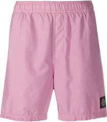 stone island logo-patch swim shorts - pink