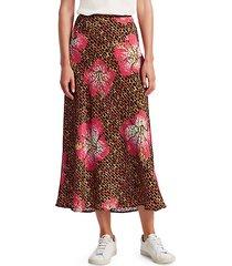 kelly floral & giraffe print silk slip skirt