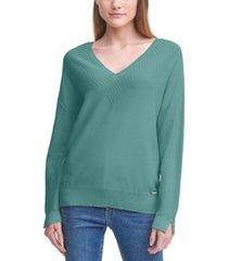 calvin klein cotton v-neck sweater