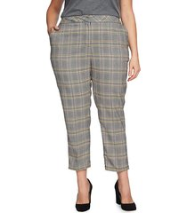 plus plaid tapered-leg pants
