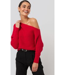 trendyol boat neck knitted sweater - red