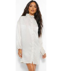 frill collar button down smock dress, stone
