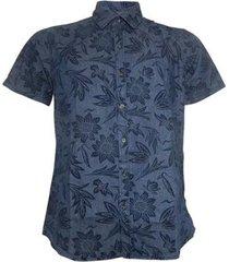 camisa slim alma de praia com estampa floral masculina