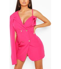 double breasted cape sleeve blazer dress, hot pink