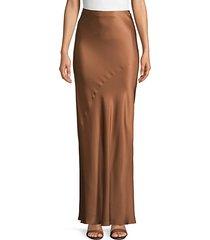 high-waisted floor-length skirt