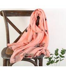 sciarpa traspirante traspirante ricamata in cotone per il ricamo del lino vintage donna vogue 180 * 70cm scialle oversize