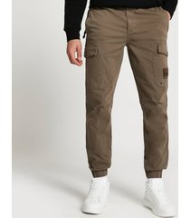 river island mens brown washed slim fit cargo pants