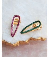 soho style green and purple crystal hair clip set