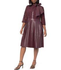 plus size women's eloquii faux leather & lace dress, size 20w - burgundy