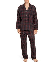 men's majestic international trimmings plaid cotton flannel pajamas, size medium - black