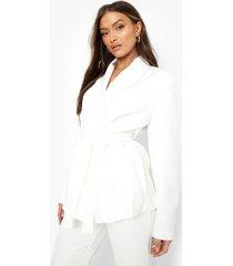 oversized getailleerde blazer met ceintuur, white