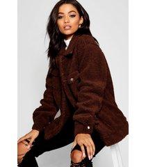 nepwollen trucker jas, bruin