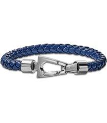 bulova men's blue braided leather bracelet in stainless steel