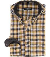 eterna overhemd geel geruit comfort fit