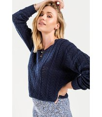 andrea knot back sweater - navy