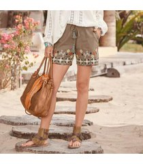 sundance catalog women's gem shorts in olive xs