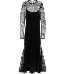 alexander mcqueen crochet knit flared evening dress - black