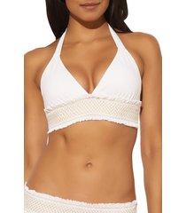 women's bleu by rod beattie smocked detail halter bikini top