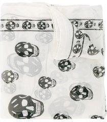 alexander mcqueen chiffon skull scarf - neutrals