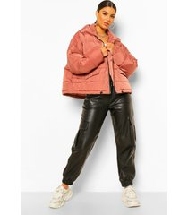 oversized gewatteerde jas met capuchon en vleermuismouwen, rose