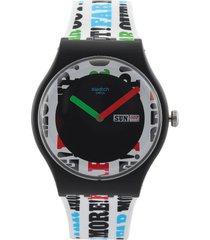 reloj blanco-negro-multicolor swatch