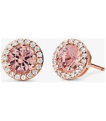 mk orecchini a bottone con pietra in argento sterling placcato oro rosa 14k - oro rosa (oro rosa) - michael kors