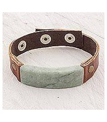men's jade and leather wristband bracelet, 'light green maya fortress' (guatemala)
