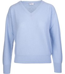 fedeli woman azure cashmere pullover with v-neck