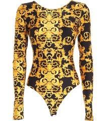 versace jeans couture print bodysuit in black
