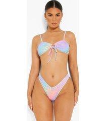 luipaardprint hipster bikini broekje met v-taille, lilac