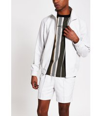 river island mens white textured zip front funnel neck jacket