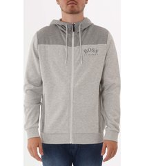 boss saggy zip through hoodie - grey 50410288