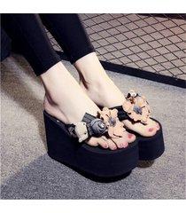 las mujeres chica sexy con tacones altos cherry cómodas chanclas casuales sandalias de cuñas