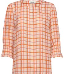 bolette print top blouse lange mouwen oranje modström
