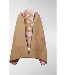 burberry reversible jacquard logo hooded cape