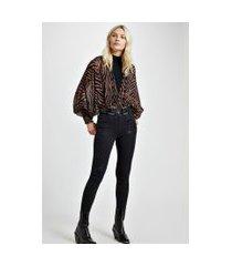 calca jeans basic skinny midi black com foil jeans - 34