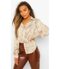 petite oversized marmerprint blouse, sand