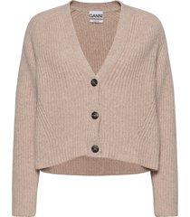 rib knit stickad tröja cardigan beige ganni