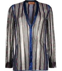 missoni transparent striped button-up cardigan - blue