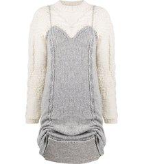almaz contrast panel chunky knit dress - grey