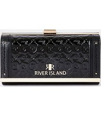 river island womens black ri embossed patent cliptop purse