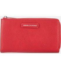 armani exchange women's emma round zip wallet - royal red