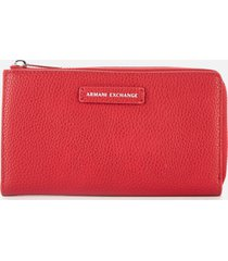 armani exchange women's emma round zip wallet - royal red