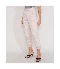 calça de sarja feminina jogger mom cintura super alta off white
