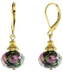 2028 gold-tone black bead pink flower earring